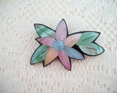SALE Mother of Pearl Flower Brooch