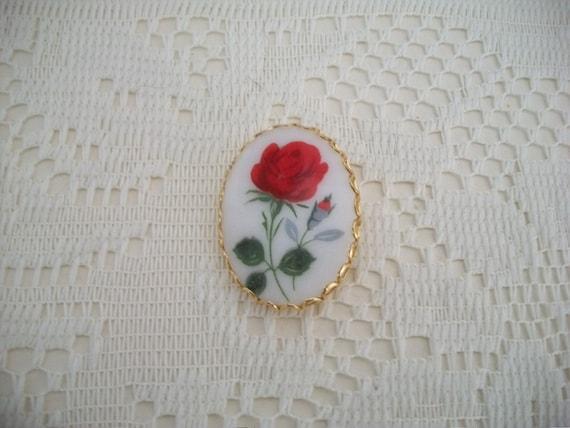 Red Rose Porcelain Brooch/Pin