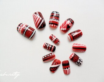 Aztec Tribal Nail Art Oscar de la Renta Inspired Design art nails red black white acrylic designs hand painted with Glue (ships from USA)