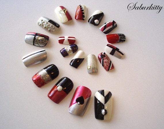 Nail Art Princess Shield Set (red, chrome, designs, nails, fingernails, silver, acrylic tips, fake, body art, bold accessories, hime gyaru)