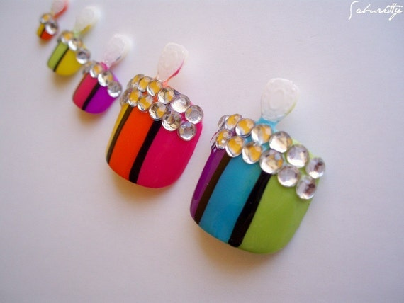 Rainbow Nail Art We're Not In Kansas Anymore ( pedicure, fake nails, toenail tips, 3D fingernail art. nails, acrylic)