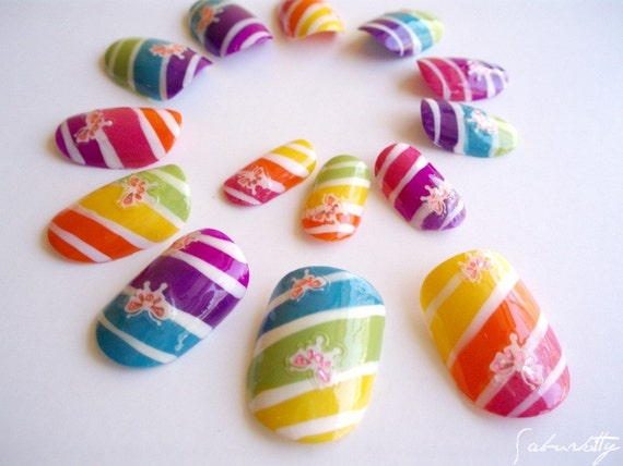 Rainbow Candy Striped Nail Art (butterflies, neon pastels, fingernail art, acrylic tips, fake, design, kawaii, nails)