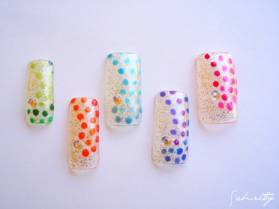 Rainbow Polka Dot Nail Art Georges Seurat Inspired (fingernail art, acrylic tips, fake, nails,design)