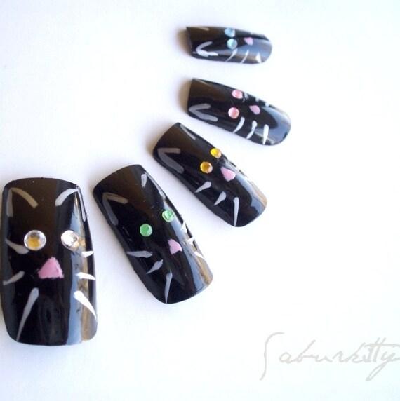 Cats Eye Nail Art (3d nail art, black, fake nails, acrylic, artificial, nail decor, nails, Halloween, whiskers )