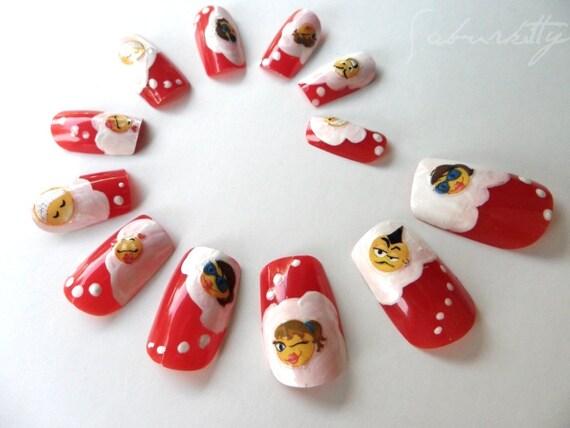 IM Me Nail Art semi 3d acrylic red white artificial decor fake nails techie smiley faces emotioncon faces kaomoji w/Glue