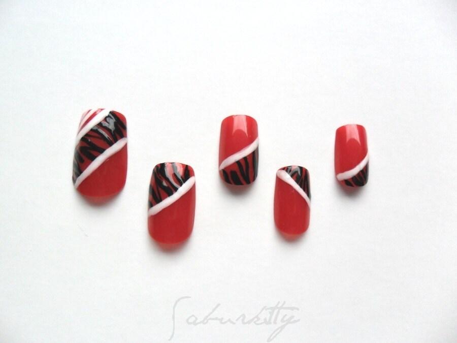 Red Zebra Nail Art black white tribal African body by saburkitty