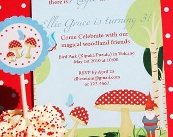 Woodland Magic, Gnomes and Toadstools - EDITABLE Printable Invitation