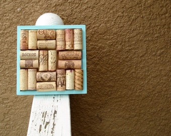 Wine Cork Trivet in Turquoise Blue