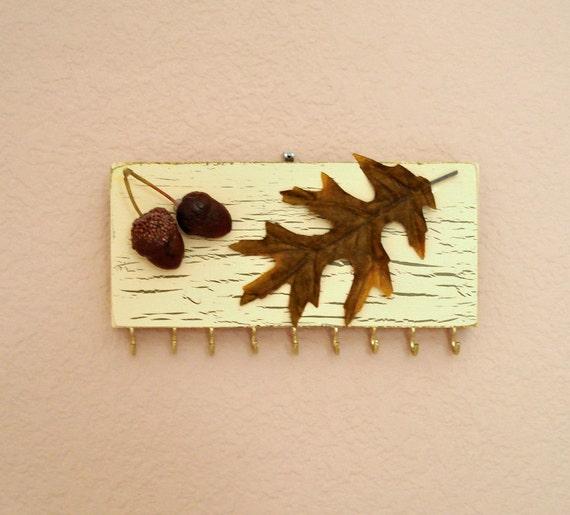 Key Holder - Jewelry organizer - Autumn Oak and Acorns - repurposed from scrap wood