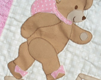 Teddy Bear, Teddy Bear -- Hand Appliqued and Hand Quilted