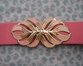 RESERVED FOR YELLOWCAKE 80s Pink Elastic Belt with Gold Tone Buckle
