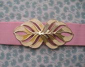 RESERVED FOR YELLOWCAKE 80s Light Pink Elastic Belt With Gold tone Buckle