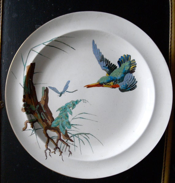 Four rare wedgewood creamware plates 1874 birds by Wedgewood designs