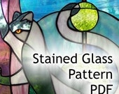 PATTERN for Black and White Cat Stained Glass