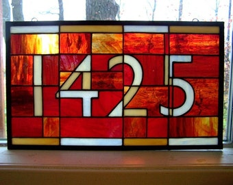 House Numbers in Stained Glass with Contemporary Font 5-Digit