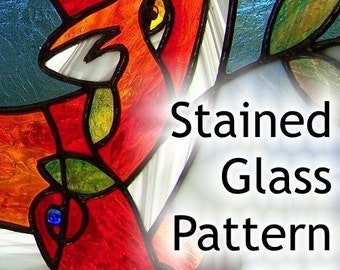 PATTERN for Red Fox in the Blueberry Patch Stained Glass - approximately 30x13""