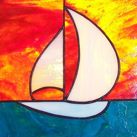 Sailboat with Blazing Orange Sunset Stained Glass Panel