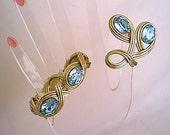 Bergere Vintage 1948 Light Blue Rhinestone Demi Parure Bracelet and Brooch Set