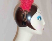 Steampunk French Plume Red or Black Feather Headpiece w/ Black Sequins and Gears