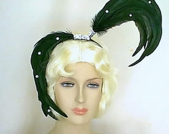 Showgirl Black Coque Feather Headpiece with Silver Sequins Trim and Rhinestones