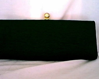 Vintage 1950s Textured Black Fabric Rectangular Clutch