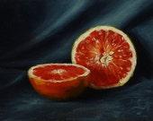 Grapefruit Du Jour, original oil on canvas board