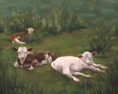 Calves (Baby Cows)- Original Oil Painting by Amy Schrom