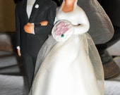 Top This-Vintage 1950s Lefton Bisque Hand Painted Wedding Cake Topper Bride and Groom