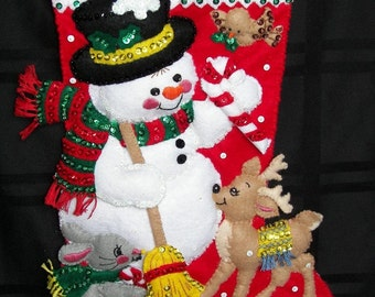 SNOWMAN and FRIENDS, 18 inch, Personalized Christmas Stocking