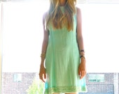 60s Mint Blue Ruffle Trim Dress xs s