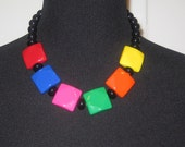 80S chunky multi-color necklace