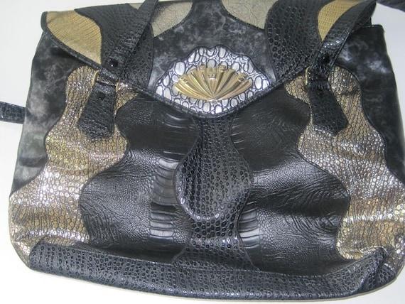 VintageTri Color Reptile Print Shoulder Bag / XL