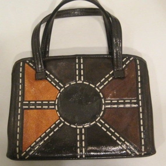 vintage vinyl handbag purse retro SUN design - 50% off with Coupon