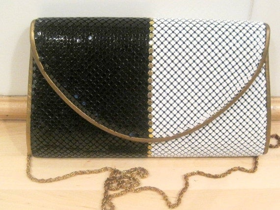 Vintage Black and white Aluminum Mesh Shoulder Bag - Clutch - 50% off with Coupon