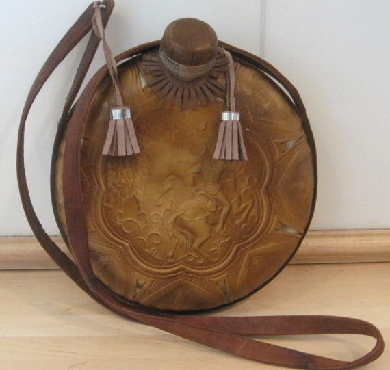 Large Beautiful Canteen with Hand Tooled Leather and Shoulder Strap