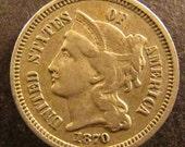 1870 Three Cent Nickel Piece Tough Date