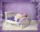 Baby Bed mattress cover for Newborn photography, background prop.  Windowpane Shirred with elastic will stretch to fit kingsize pillow.
