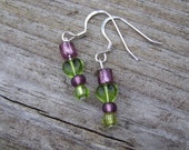 Simple green and purple heart earrings