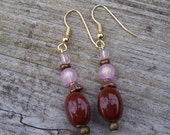 Brown-pink stone drop earrings