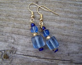 Lt. Blue Square Earrings