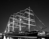 Tall Ship Moshulu, Four Masted Barque, Fine Art Black and White Photography