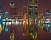 Baltimore Skyline, Inner Harbor Reflections,  Fine Art Color Photography, Baltimore Art