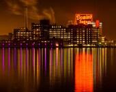 Baltimore Skyline, Domino Sugar Shows Baltimore Ravens  Pride,  Fine Art Color Photograph, Baltimore Art