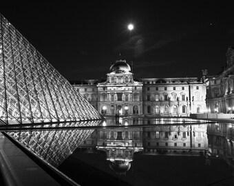 Paris Photography, Louvre Reflections, Black and White Fine Art Photography, Paris Decor
