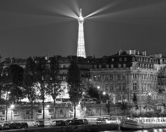 Paris Photography, Eiffel over the Seine, Black and White, Fine Art Photography, Paris Decor, Eiffel Tower Photo