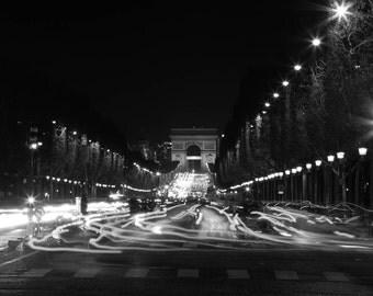 Paris Photography,  Frenzy on the Champs, Black and White Fine Art Photography, Paris Decor