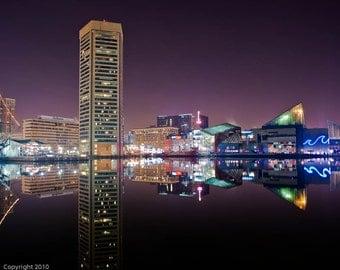 Baltimore Skyline, Baltimore Inner Harbor, Fine Art  Photograph, Baltimore Photography, Baltimore Art