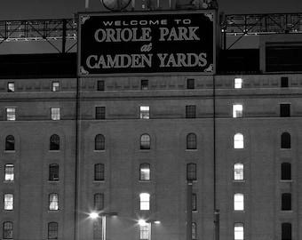 Baltimore Art, Oriole Park At Camden Yards, Fine Art Black and White Photography, Maryland Art, Baltimore Skyline