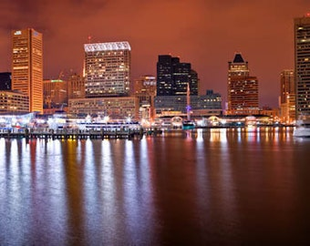 Baltimore Skyline, Baltimore in Panorama,  Fine Art  Print, , Baltimore Photography Baltimore Art