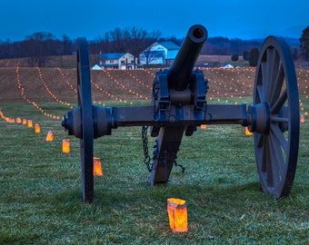 Maryland Art, Antietam Cannon and Luminary, Fine Art Photography, Maryland Photography, Civil War